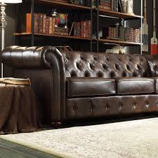 signal hills knightsbridge brown bonded leather tufted scroll arm