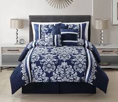 White Bed Set Queen 7 Piece Taylor Navy White Comforter Set