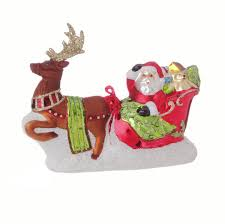 raz glass santa in sleigh with reindeer ornament