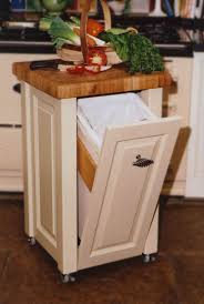 very tiny ivory stained oak wood movable kitchen storage with unpolished