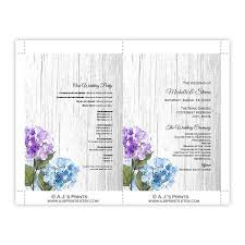 Fan Wedding Program Template Purple U0026 Blue Hydrangeas Barn Wood Wedding Program Fan Template