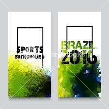 Brazil Flag Image Creative Website Banner Set Abstract Sports Background With