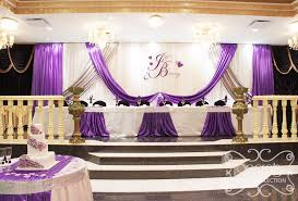 wedding backdrop reception a crystallized royal purple and silver wedding reception