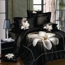 white orchid black bedsheet 3d bedding sets king size 4pcs