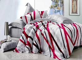 Red White Comforter Sets White Black And Red Striped Printed Cotton 4 Piece Bedding Sets