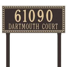 whitehall products the home depot egg and dart rectangular bronze gold estate lawn two line address plaque