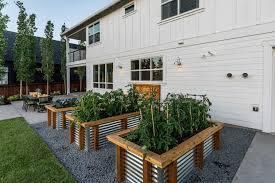 Backyard Planter Box Ideas Gravel Garden Design Ideas Landscape Farmhouse With Planter Boxes