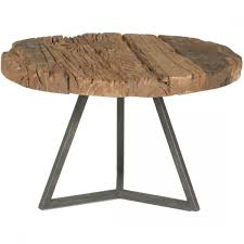 Small Round Coffee Table by Express Magnolia Timber Small Round Coffee Table In Raw Metal