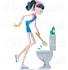 vector clipart of a maid cleaning a toilet by bnp design studio 16