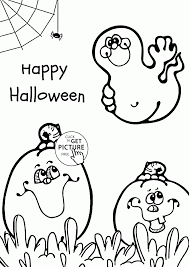 cute ghost and pumpkins coloring pages for kids halloween
