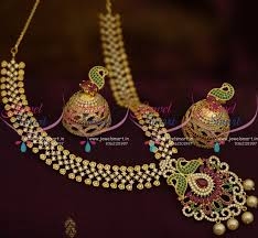 short chain pearl necklace images Nl9427 gold design cz chain peacock ruby emerald pendant pearl JPG