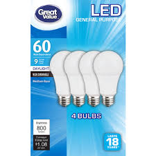 Led Light Bulb Brands by Great Value Led Light Bulbs 9w 60w Equivalent Daylight 4 Pack
