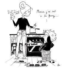 maman cuisine illustration d un enfant qui se plaint à sa maman qui cuisine de