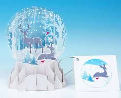 winter deer 3d snow globe card pretty papers