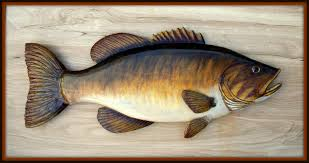 smallmouth bass 24 inch fish wood carving folk fish