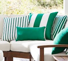 Sunbrella Cushions For Outdoor Furniture Sunbrella Contrast Piped Solid Indoor Outdoor Pillow Pottery Barn