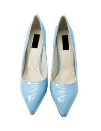 Light Blue Patent Leather 3 1 5 High Heel Pointed Toe Womens