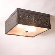 Tin Ceiling Lights Square Ceiling Light With Chisel In Blackened Tin Irvin S Tinware
