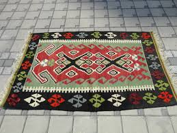 Antique Washed Rugs Red And Green Colors Vintage Antique Handmade Turkish Small Kilim