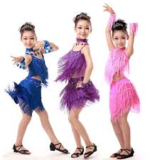 cheap pink blue red sequin fringe salsa dancewear child girls