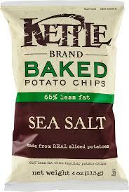 kettle brand baked potato chips 65 less fat sea salt 4 0 oz