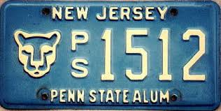 penn state alumni license plate new jersey the garden state