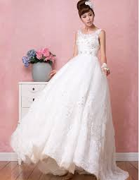 romantic a line round neck full length appliques beading tulle