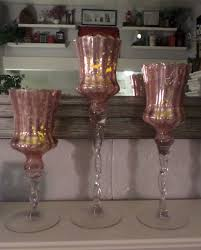 Vintage Look Home Decor by 3 Pink Blush Mercury Glass Vintage Look Candle Holders Home Decor