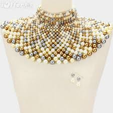 collar necklace images Beaded bib collar necklace set egyptian pearl choker for sale jpg