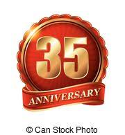 35 year anniversary 4 years anniversary golden label with ribbon vector illustration
