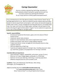 Student Resume For Summer Job by Download Cover Letter For Summer Camp Haadyaooverbayresort Com
