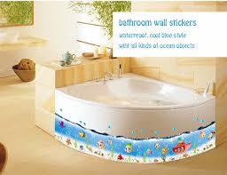 blue sea fish border vinyl wallpaper bathroom waterproof ocean