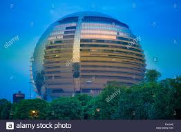 modern buildings in hangzhou at night china stock photo royalty
