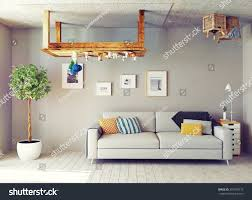 strange living room interior 3d design stock illustration