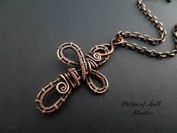 jewelry diamonds necklace images Copper woven wire cross pendant necklace wire wrapped jewelry by JPG