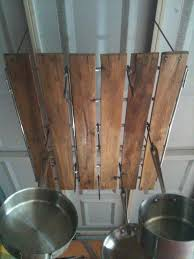 lighted hanging pot racks kitchen pallet wood hanging pot rack via https www facebook com