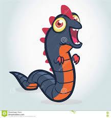 Cute Halloween Vector Cute Cartoon Worm Monster Halloween Monster Snake Blue And Orange