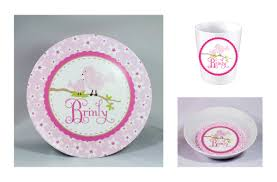 personalized dinnerware birds and flowers personalized melamine dinnerware set plate