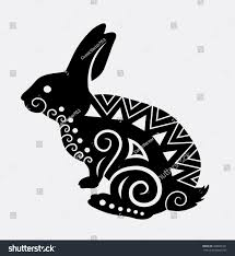 rabbit pet animal curl ornament decoration stock vector 488662321