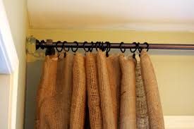 ceiling burlap curtains with brown curtain and wooden cabinet for