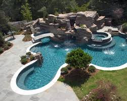 pools with waterfalls elaborate swimming pool featuring large grotto waterfall and tube
