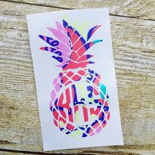pineapple home decor etsy decal lilly pulitzer inspired monogram