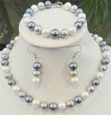 silver necklace with pearls images Woman 10mm elegant white silver gray shell pearl necklace jpg