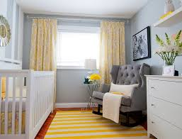 Nursery Room Rocking Chair by Contemporary Yellow Furry Rug And Grey Velvet Tufted Rocking Chair