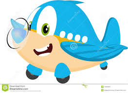 baby cute cartoon blue airplane character with propeller flying