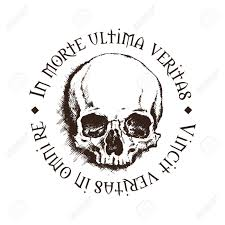 vector skull with a inscription meaning in lies