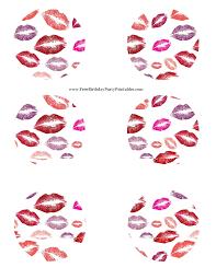 lipstick kiss birthday party printables