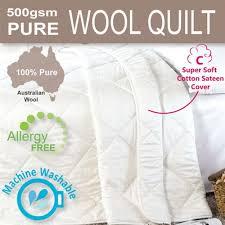 Woolen Duvet Aus Sateen Wool Quilt Doona 500gsm Queen Washable