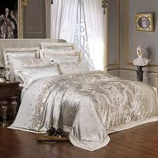 King Size Duvet Bedding Sets Sliver Golden Luxury Satin Jacquard Bedding Sets Embroidery Bed