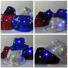 2018 new fedora led light up blinking sequin hat